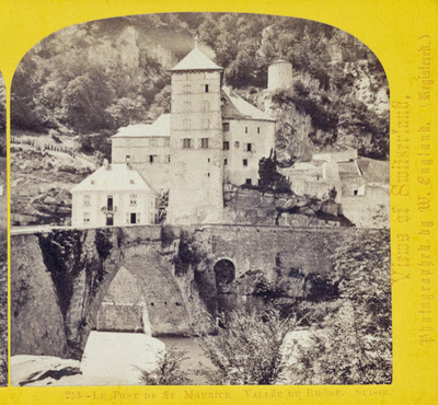 One half of a stereo view by William England. La Pont de St. Maurice, Vallee du Rhone, Switzerland