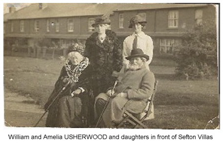 Usherwood William and Amelia Usherwood with daughters at Sefton Villas