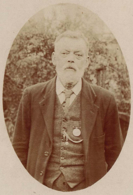 George Bathe wearing his Ashantee Medal in the 1920s. Photo by E W Garland, Sydenham