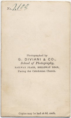 G Diviani & Co carte de visite photo 2 (verso)