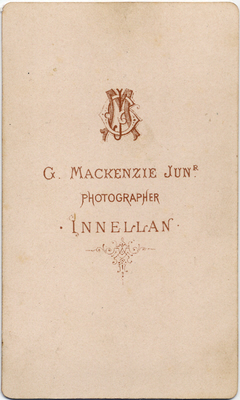 George McKenzie junior carte de visite photo 1 (verso)