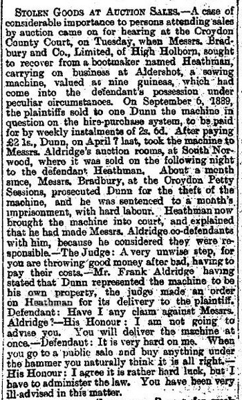 Report in the Liverpool Mercury of the 10th September 1891 re: stolen goods
