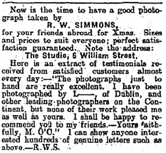 Robert William Simmons' advert in the Connacht Tribune in December 1913