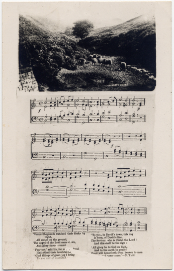 Biltcliffe postcard showing words, music and a photo of Langsett Moors