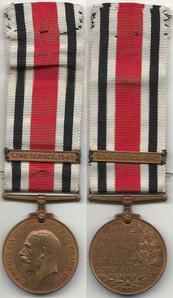 Frederick William Biltcliffe's Special Constable medal awarded in 1945