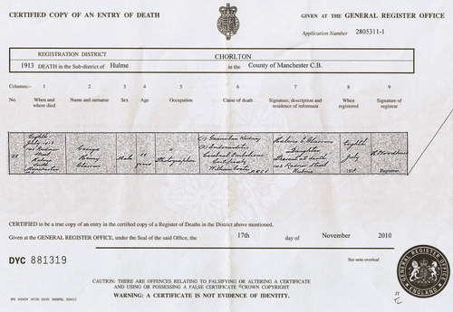 George Henry Glasson's death certificate - 1913