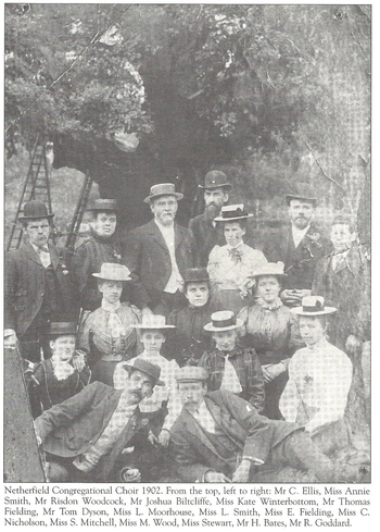 Joshua Biltcliffe with the Netherfield Congregational Choir in 1902