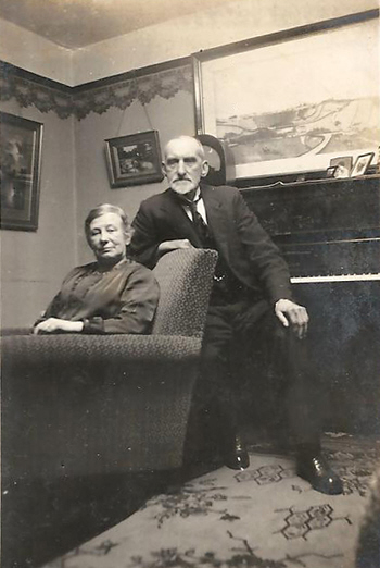 Joshua and Mary Biltcliffe in their latter days at home in Bridge Street, Penistone