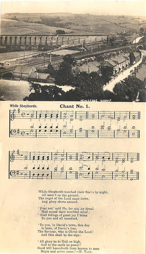 Postcard by Joshua Biltcliffe showing words, music and a photo of Penistone Viaduct