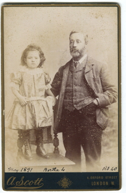 Bertha Sandland age 4 in 1891 with father