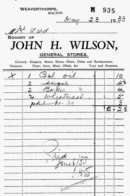 John H Wilson billhead from his general stores – 1933