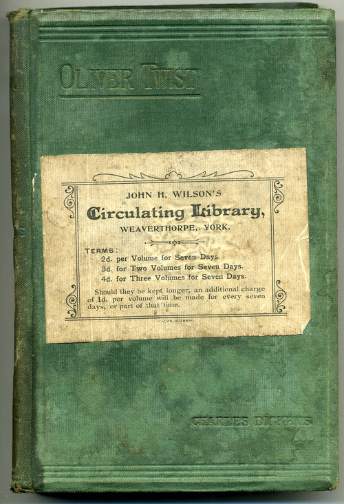 Oliver Twist book from John H Wilson's Circulating Library – 1920s