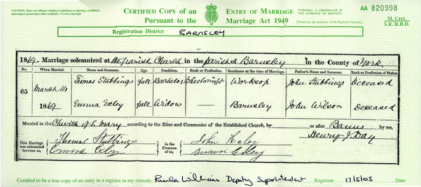 Emma Marriage Certificate
