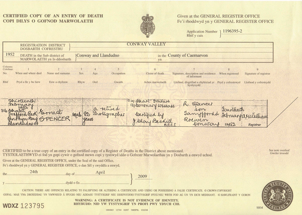 Ernest Spencer's death certificate 1952