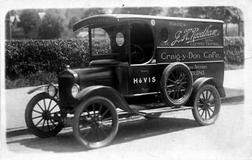John Henry Needham's bakery van, Llandudno about 1920.Photo by Ernest Spencer