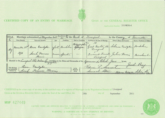 Aaron & Sarah Vandyke's marriage certificate 1870