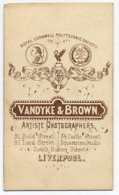Vandyke & Brown carte de visite photograph 8 (verso)