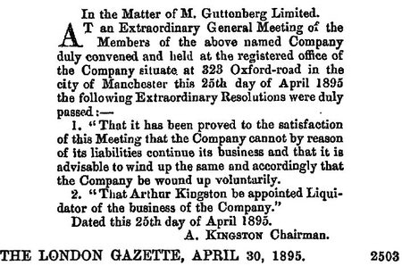 Guttenberg, M Ltd Winding up 1895