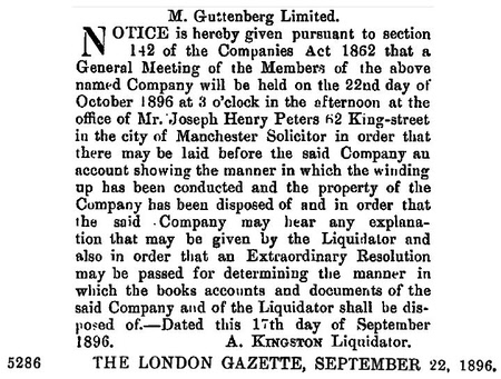 Guttenberg, M Ltd  Liquidated 1896
