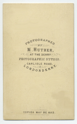 Mary Huther carte de visite photograph 3 (verso)