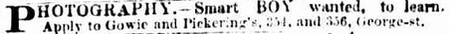 Advert of Gowie & Pickering - Sydney Morning Herald 12th January 1887 page 16