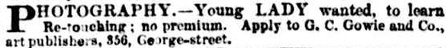 Advert of G C Gowie - Sydney Morning Herald 24 December 1886 page 12