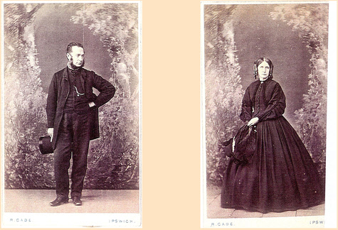 Photographs of Robert Cade and Maria Cade about 1862 - photos courtesy Isabel Hanson, Edinburgh, Scotland