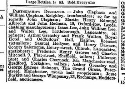 Notice of partnership dissolution Huddersfield Daily Chronicle 1893