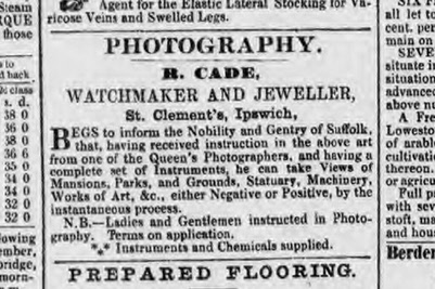Robert Cade's advert in the Ipswich Journal 26 August 1854