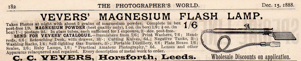Vevers, C C advert PH World Dec 1888