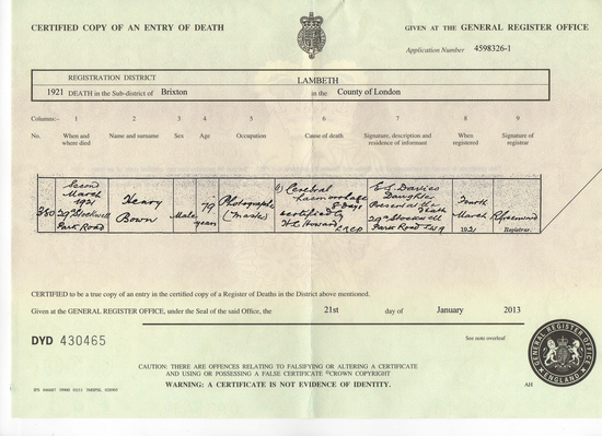 Henry Bown Death Certificate