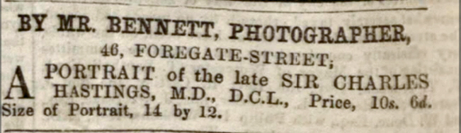Thomas Bennett Advertisement from 1866