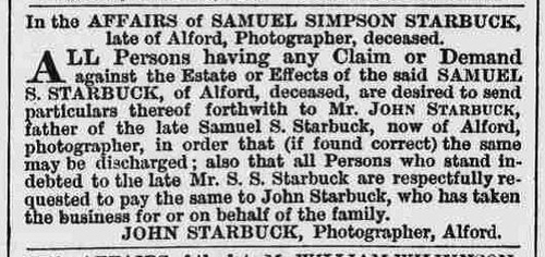 Starbuck John re death of son Samuel S Starbuck 1869