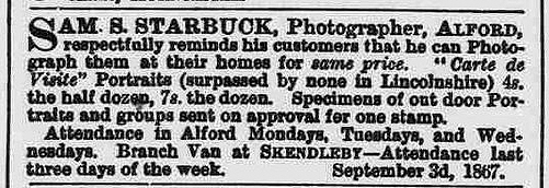 Starbuck Sam S advert 1867