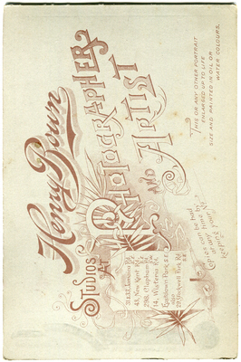Henry Bown photograph 29a – cabinet card (verso)