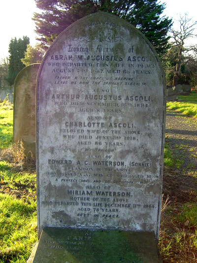 Abraham Ascoli Tottenham General Cemetery London Grave No. 1792