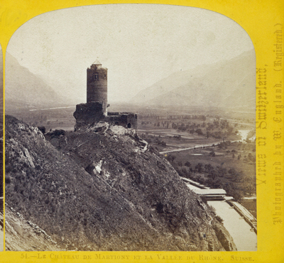 One half of a stereo view by William England. Le Chateau de Martigny et la Vallee du Rhone, Switzerland
