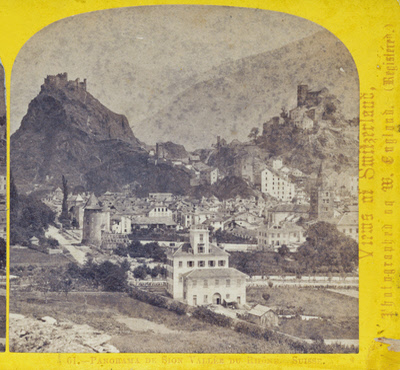 One half of a stereo view by William England. Panorama de Sion, Vallee du Rhone, Switzerland