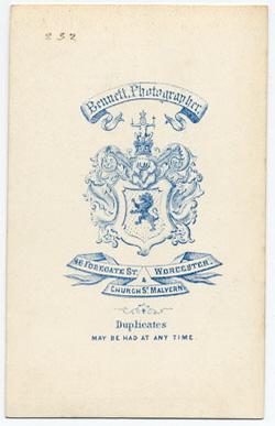 Thomas Bennett carte de visite 9 (verso)