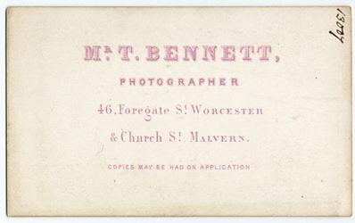 Thomas Bennett carte de visite 11 (verso)