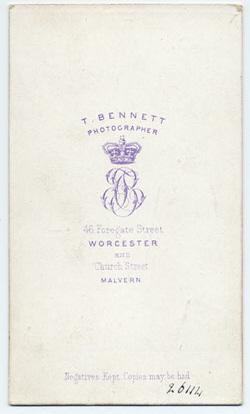 Thomas Bennett carte de visite 13 (verso)