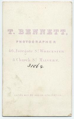 Thomas Bennett carte de visite 14 (verso)