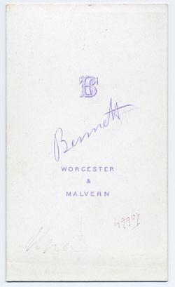 Thomas Bennett carte de visite 16 (verso)