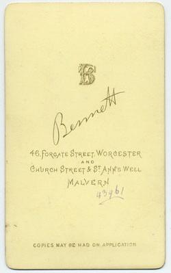 Thomas Bennett carte de visite 19 (verso)