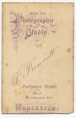 Thomas Bennett carte de visite 21 (verso)