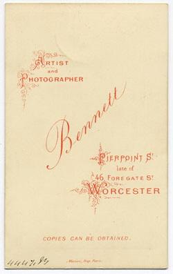 Thomas Bennett carte de visite 22 (verso)
