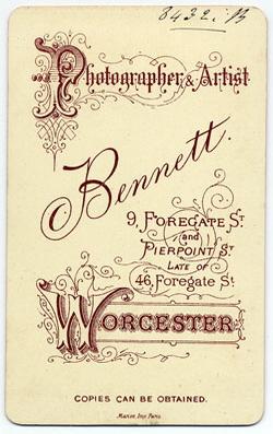 Thomas Bennett carte de visite 24 (verso)