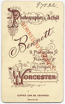 Thomas Bennett carte de visite 25 (verso)