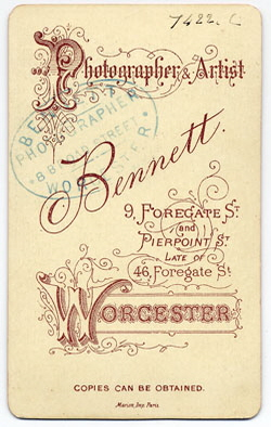 Thomas Bennett carte de visite 26 (verso)