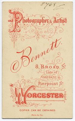 Thomas Bennett carte de visite 27 (verso)